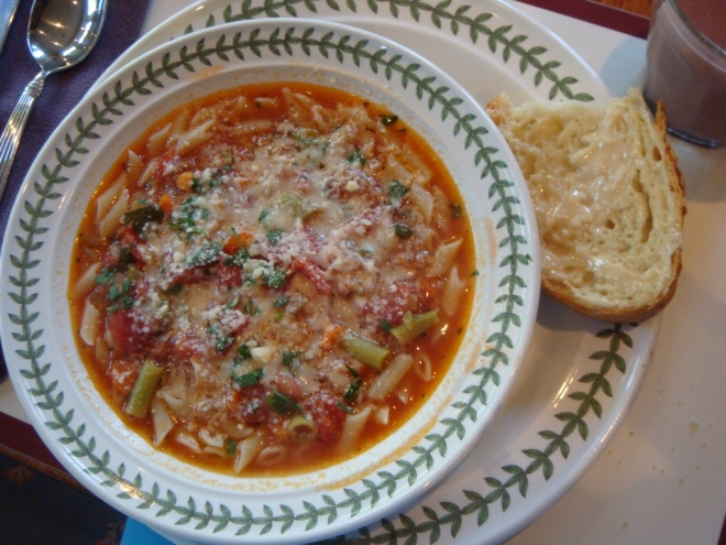 J's soup with lots of Parmesan and Honeyed Bread